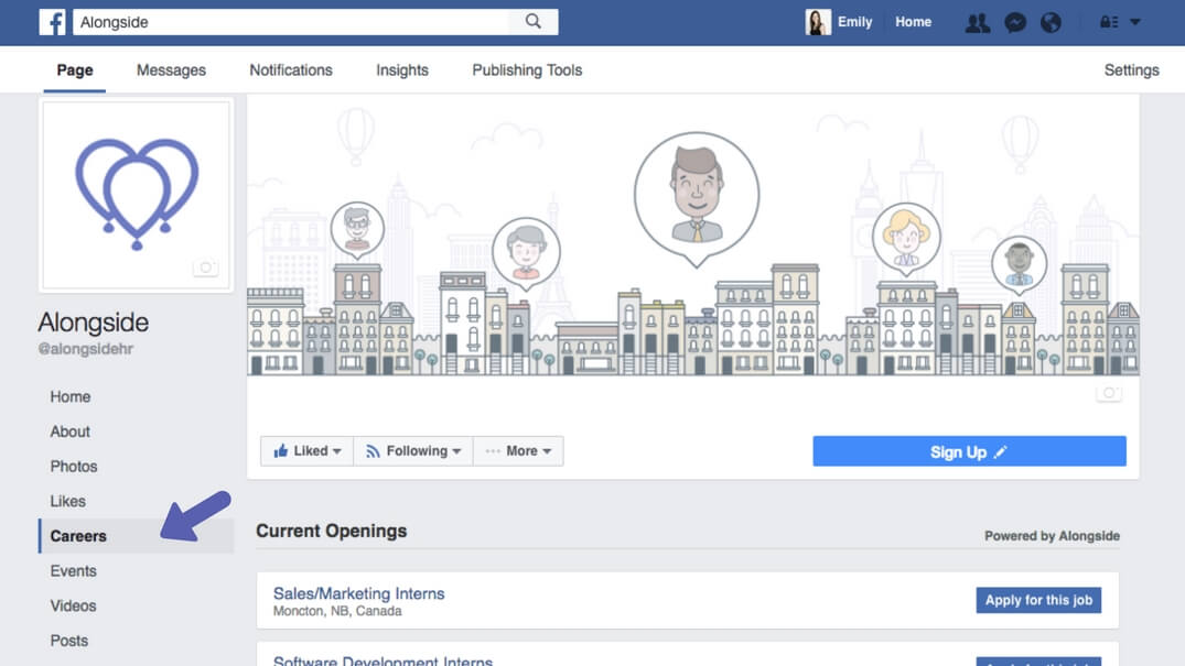 Facebook Company page showing Careers Tab