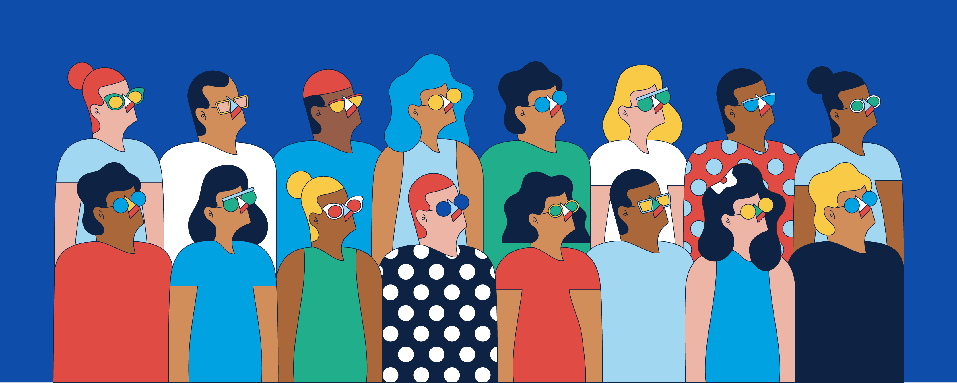 Cartoon From Warby Parker with people wearing glasses