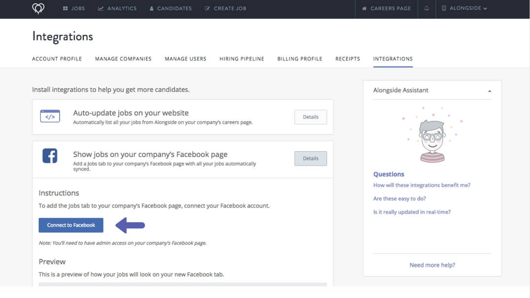 Arrow showing where to click to integrate with Facebook